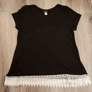 Black tee with white lace trim